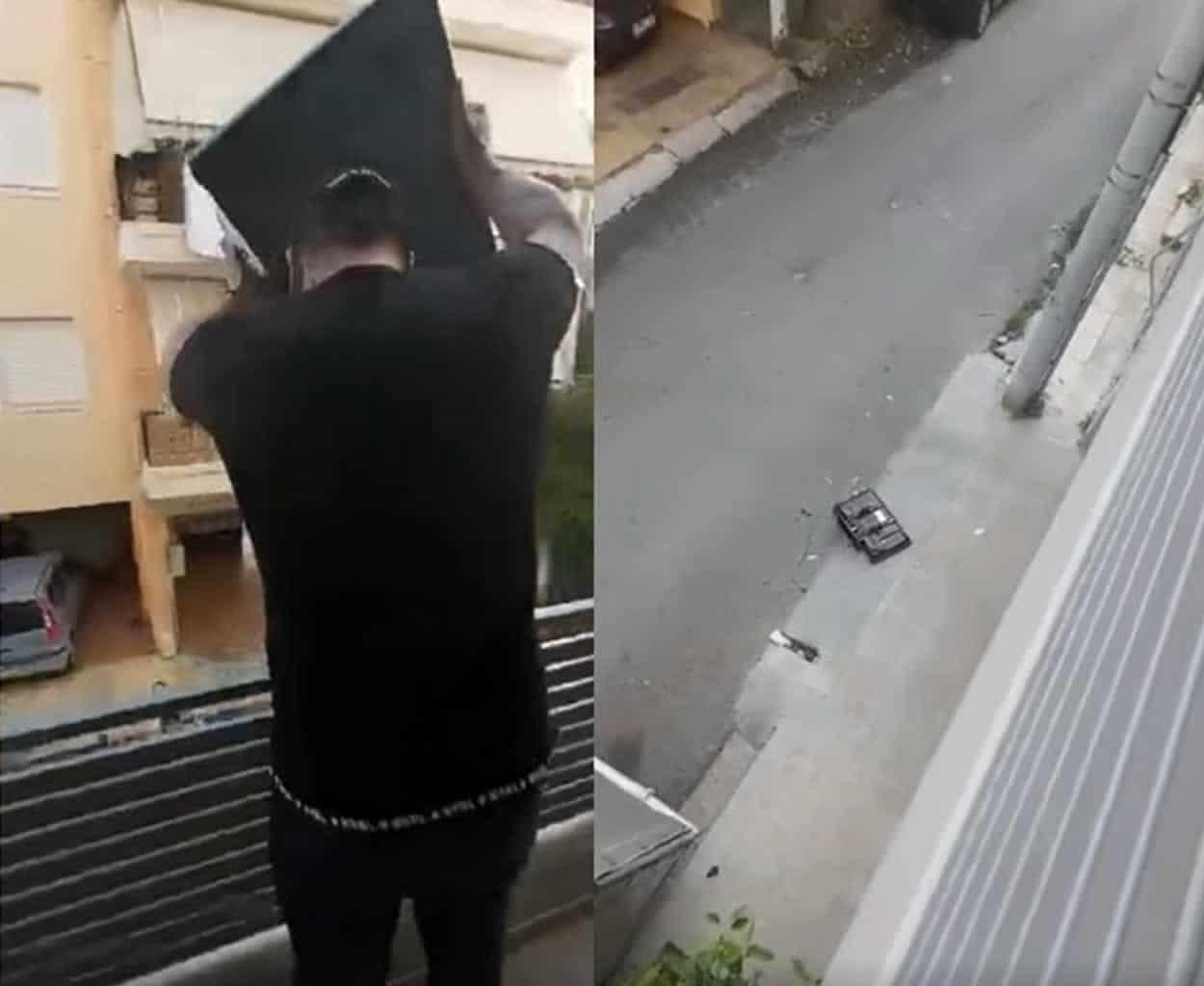 viral vinteo eknevristike ke petaxe tin tileorasi apo to balkoni dite giati to ekane